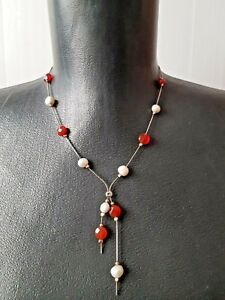 Necklace-Sterling-Silver-925-Pearl-Carnelian-Beads-Gold-Accents