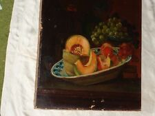 ANTIQUE 19th C VICTORIAN FRUIT GRAPES STILL LIFE OIL PAINTING SIGNED UNFRAMED