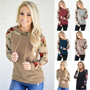 Plus-Size-6-22-Womens-Hoodies-Sweatshirt-Ladies-Jumper-Sweater-Hooded-Floral-Top