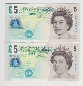 TWO B407 SALMON CONSECUTIVE £5 BANKNOTES MC08 IN MINT CONDITION.
