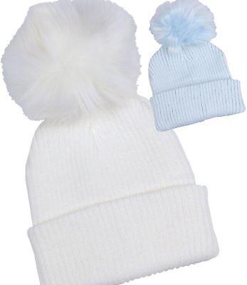 BabyPrem Baby Hats Boys Fair Isle Nepalese Pom Pom Winter Hat Blue 6-12m 12-18m
