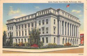 Vintage Scioto County Court House Portsmouth Ohio Linen Postcard 1943