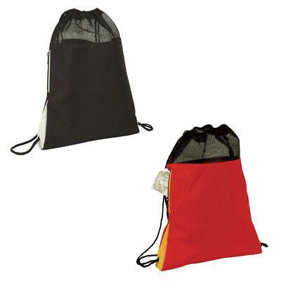 "Large Drawstrings Bag Backpack Rucksack Tote Sack Zippered  School Travel 14x18/"""