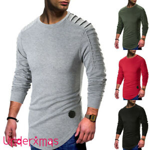 Mens Plain Sweatshirt jumper Sweater Pullover work Casual Leisure top S-XXL