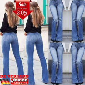 DE Damen Hoch Taille Schlaghose Hosen Bootcut Hüft Jeans Jeanshosen ... 4cf897ebe3