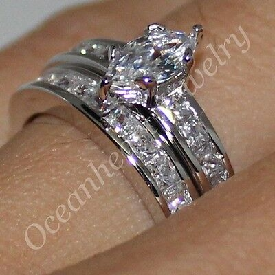 Eternity Lady's Marquise-cut White Sapphire Silver Wedding Ring Set Size 6-10