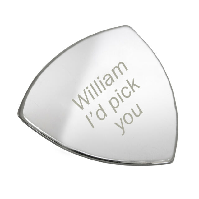 Personalised Silver Plated I'd Pick You Guitar Plectrum Pick - Free Engraving -