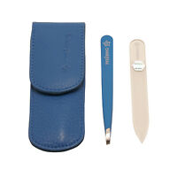 Pfeilring - 2 Piece Pocket Manicure Set In Blue Nappa Leather Case