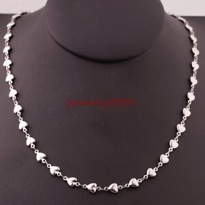 Wholesale-Lots-Womens-Silver-Stainless-Steel-Lovely-Heart-Necklace-Chain-16-034-30-034