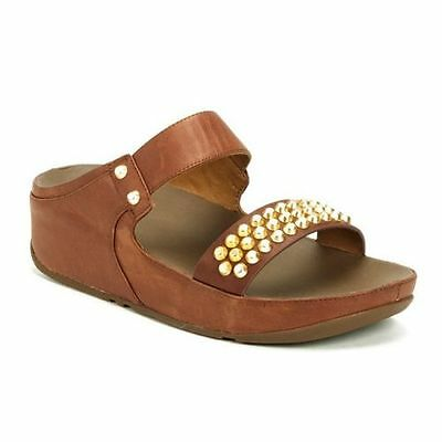 5eed8c7b3ee037 Fitflop Women Amsterdam Studded Leather Slide Sandal 648-277 Dark Tan