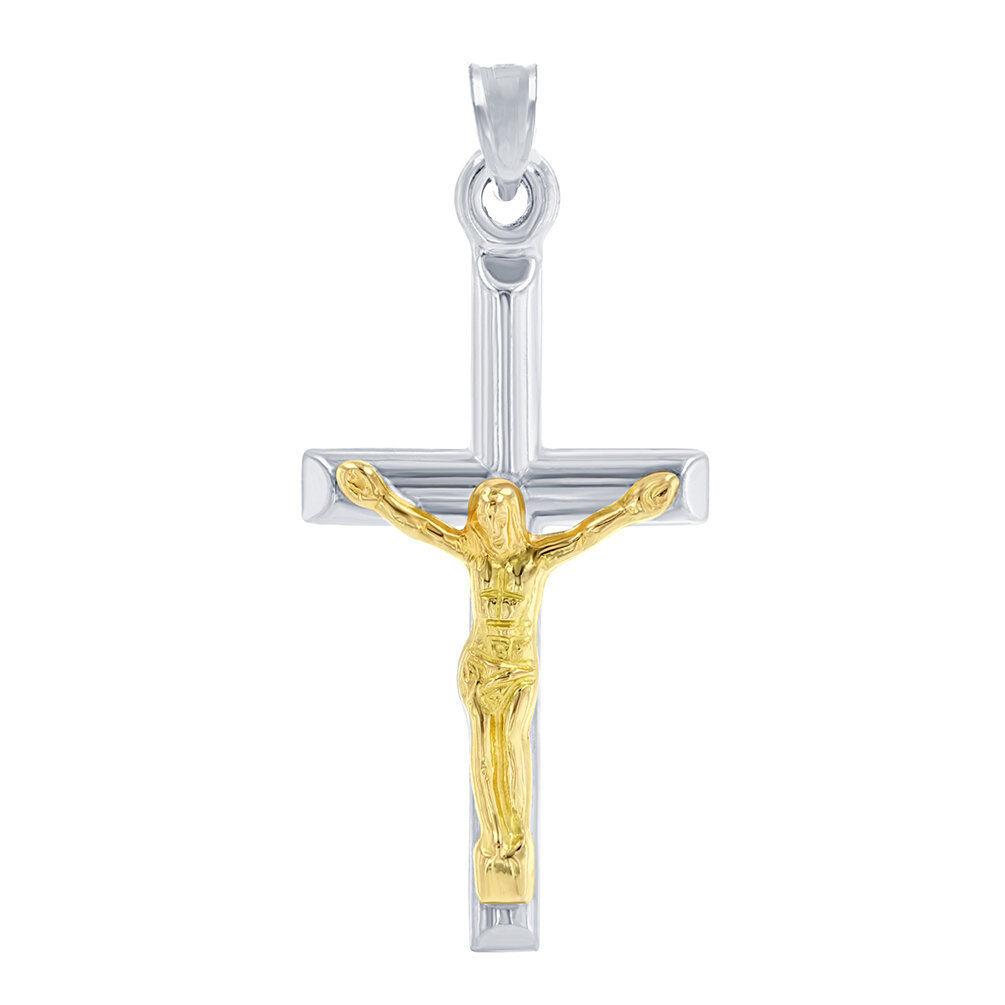 14K White gold Cross with Yellow gold Jesus Crucifix Pendant