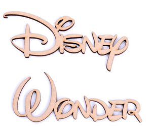 Wooden-Script-Word-Set-of-2-Disney-Font-Disney-Wonder-25mm-mdf