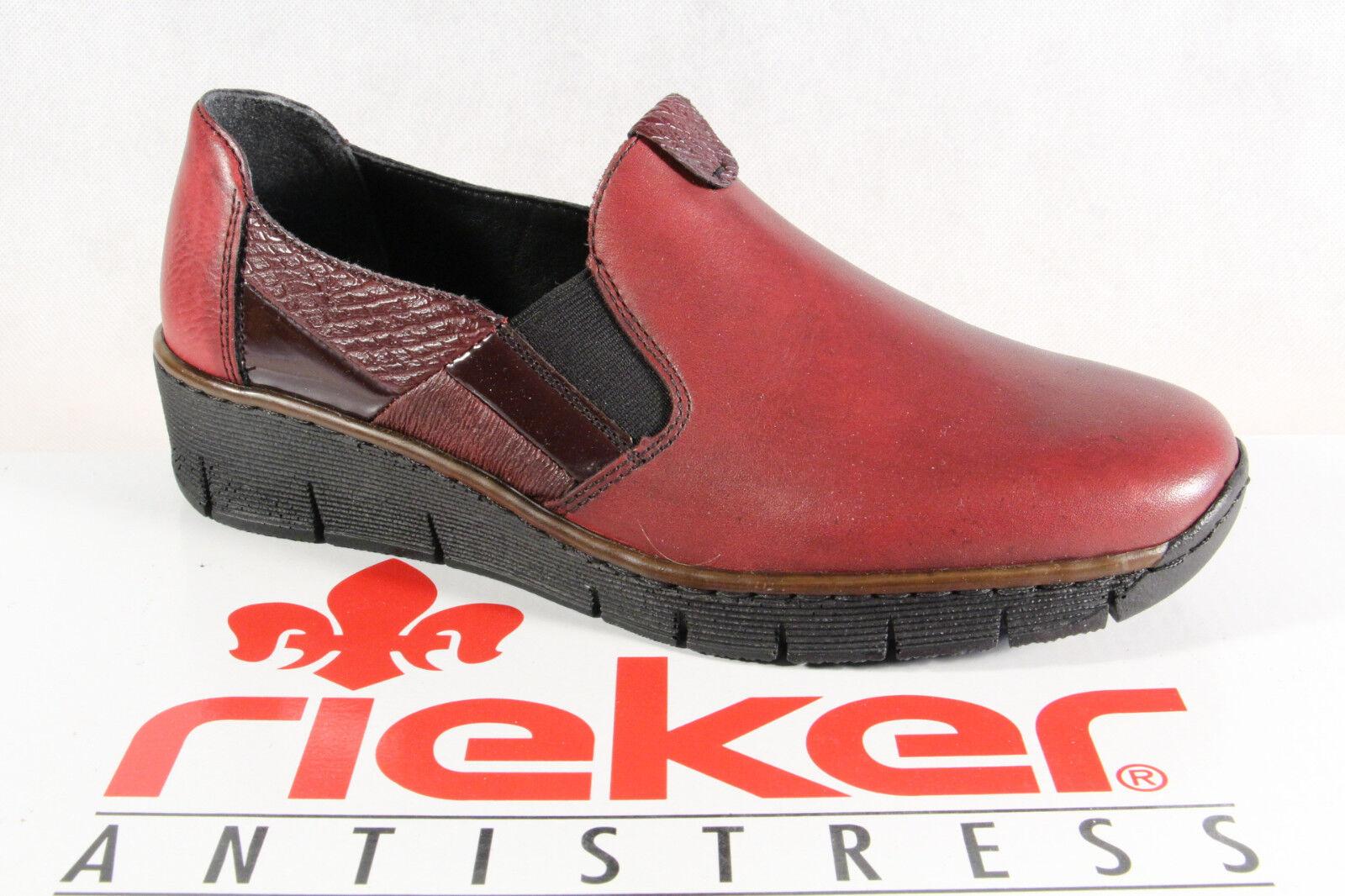 Rieker Slipper Damen Slipper Rieker Halbschuhe, Sneakers  Leder weinrot 53754 NEU 82a1b3
