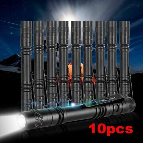 10pcs 50000LM LED Flashlight Penlight Pocket Mini Torch Clip AAA Lamp Light