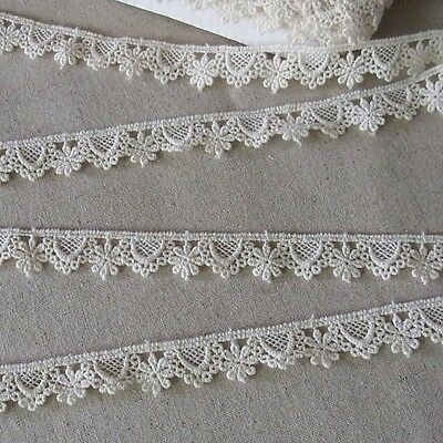 7 Yds Vintage Style Lace Trim Cotton Fabric Crochet Lovely Doll Dress Ivory