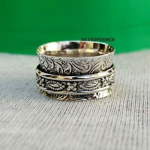 Solid-925-Sterling-Silver-Spinner-Ring-Wide-Band-Meditation-Statement-Jewelry-e9