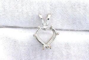 10mm Heart Sterling Silver Prenotched Gemstone Gem Stone Pendant Mounting