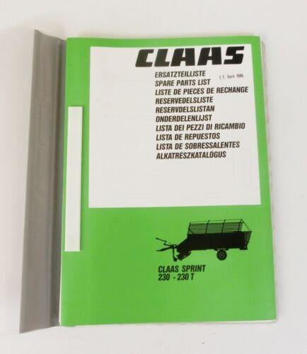 CLAAS Sprint 230  230 T  Ladewagen Ersatzteilliste 1986 Lagerexemplar