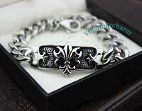 Korean Bigbang G-dragon Style Fleur-de-lis Link Bracelet Fine Stainless Steel
