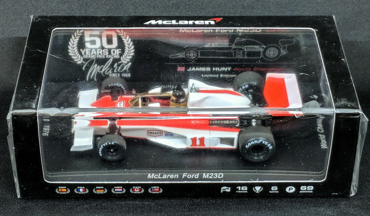 JPN limited edition 50th aniversario,   Spark 1 43 McLaren M23D James Hunt F1 campeón del mundo 1976