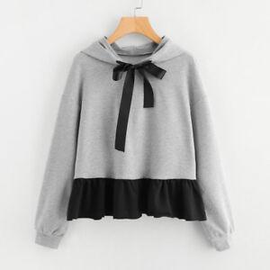 Women-039-s-Ruffles-Long-Sleeve-Hoodie-Sweatshirt-Jumper-Hooded-Pullover-Bow-Blouse