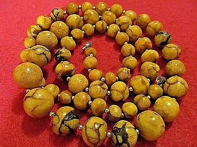 VINTAGE UNUSUAL RARE  HUGE ANTIQUE CHINESE TIGER CORAL BEAD NECKLACE