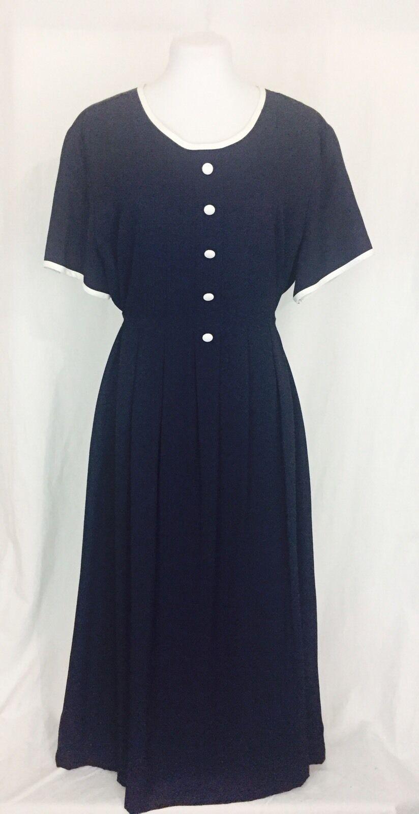 Vintage 1980's Sailor Style Adjustable Maternity Dress XL bluee