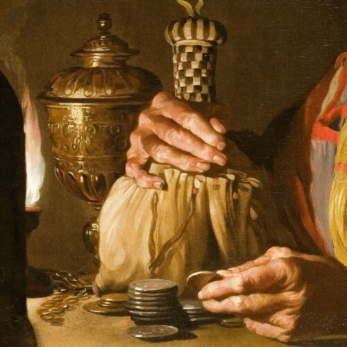 """CHOICES of CANVAS 40W/""""x32H/"""" WOMAN COUNTING COINS BY OIL LAMP by MATTHIAS STOMER"""