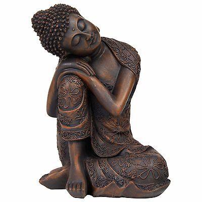 24cm Bronze Effect Polyresin Sitting Buddha Garden or Home Decor Statue Ornament