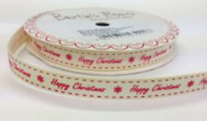 Bertie-039-s-Bows-Happy-Christmas-9mm-Ivory-Grosgrain-Ribbon-on-3m-Roll