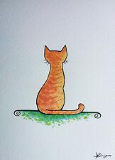 Pintura original acuarela y tinta pequeños imagen Gato Gatito gato atigrado pelirrojo