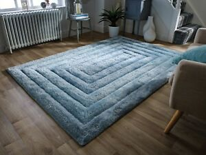 SALE-Verge-Ridge-Duck-Egg-Blue-Carved-Thick-3D-Shaggy-Rug-in-various-sizes