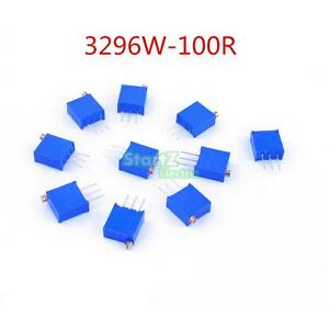 100pcs-3296W-101-High-Precision-Trimmer-Potentiometer-Variable-Resistor-100-Ohm