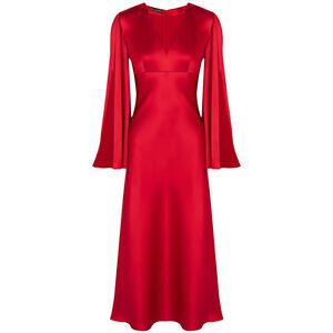 Alexander-McQueen-Lantern-Red-Silk-Satin-Open-Sleeve-Kimono-Dress-Gown-IT40-UK8
