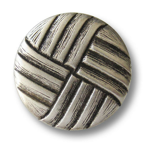 5 altsilberfb Ösen Knöpfe aus Metallblech mit reliefartigem Web Muster 1250si
