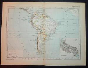 1886 ANTIQUE PRINT COULEUR CARTE D'AMERIQUE DU SUD SOUTH AMERICA Français Carte