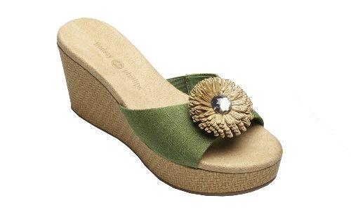 Lindsay Phillips Sage Green DEVON Open Toe Wedge Heel Linen SNAP Slide