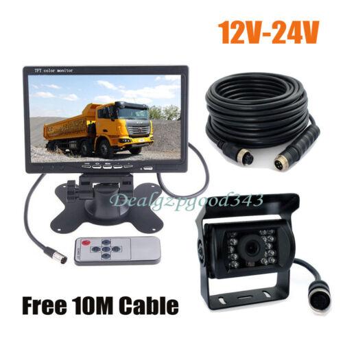 "12V-24V 4Pin CCD Car Rear View Reverse Camera 7/"" LCD Monitor Kit For Bus Truck"