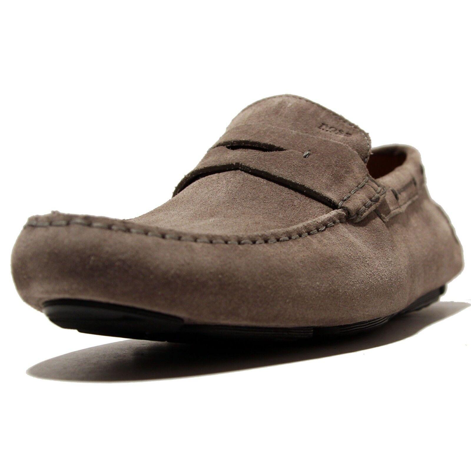 HUGO BOSS gris Cuir Mocassins Chaussures 7.5 40.5 Chaussures De Loisirs Hommes Pilote marron
