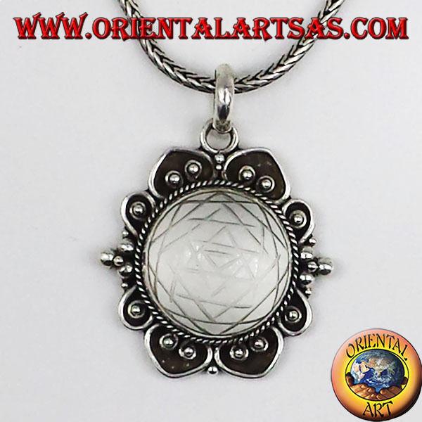 Ciondolo In argentoo 925  Con Mandala Mandala Mandala Inciso Su Cristallo Di Rocca 6acf02