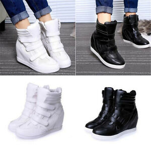 b85658120ad Fashion Womens High Top Hidden Wedge Sneakers Lace Up Casual Shoes ...