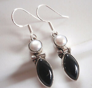 Cultured-Pearl-and-Black-Onyx-Marquise-925-Sterling-Silver-Dangle-Earrings