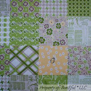 BonEful-Fabric-FQ-Cotton-Quilt-Block-Green-White-Brown-Yellow-Flower-Leaf-Retro