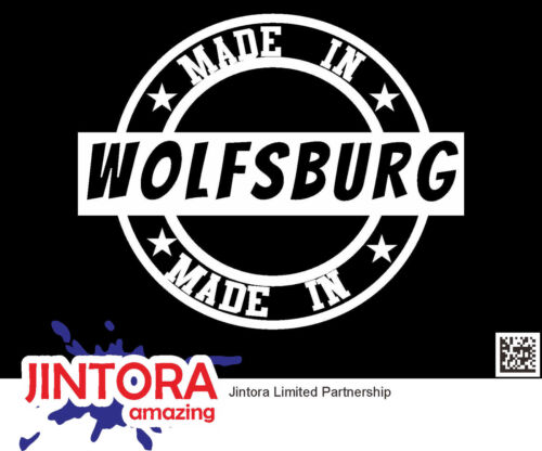 110x90mm Sticker // Car Decal Created in Wolfsburg JDM // Die cut  white 434