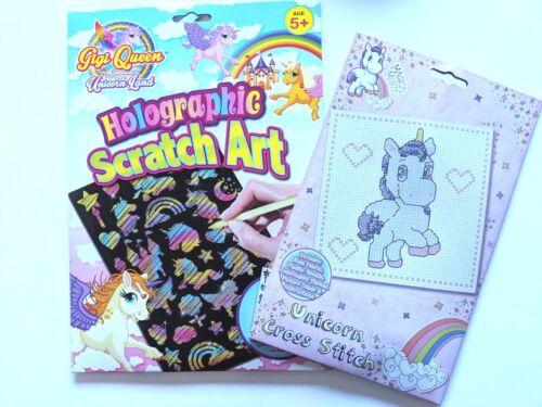 A4 Enfant Licorne Holographique Scratch Art Set 2 cartes Stencil /& Cross Stitch