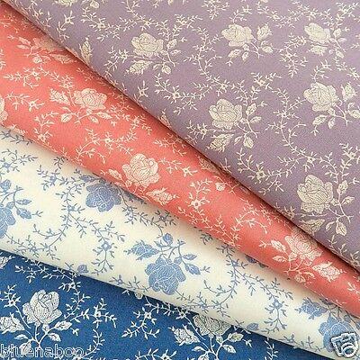 PER 1/2Mt / FQ victorian rose fabric blue, ivory blush or wine cotton poplin