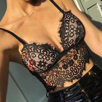 Women/'s Tops See Through Mesh Bralette Bra Bustier Push Up Crop Tank Tops Cami