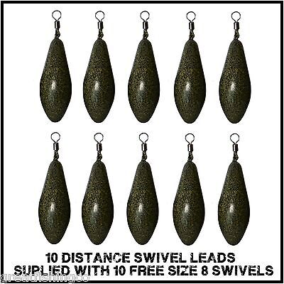 10 Distance Inline leads coated camo carp leads  plus 10 free swivels