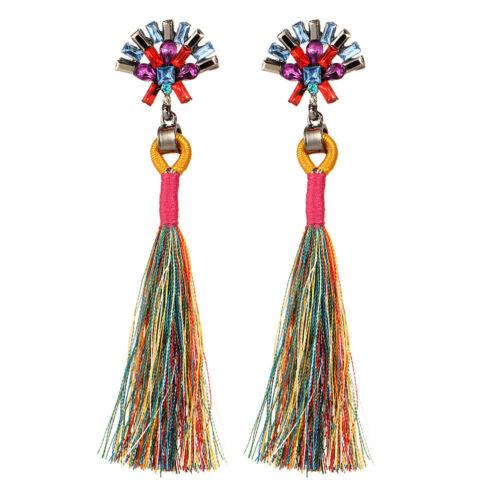 Women Fashion Bohemian Earrings Vintage Long Tassel Fringe Boho Dangle Earrings