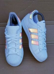 the best attitude 3b5ff 5af6c Details about ADIDAS SUPERSTAR HOLOGRAPHIC WHITE IRIDESCENT TRAINERS SIZE  5.5 UK RARE NEW